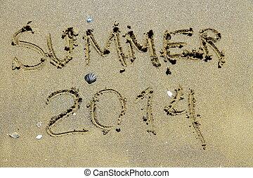 Inscription summer 2014 on sea sand beach, top view