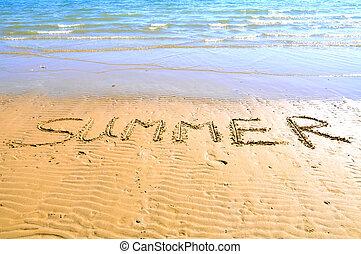 """inscription """"summer"""" on the beach"""