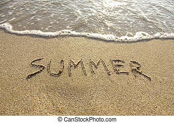 Inscription summer on the beach