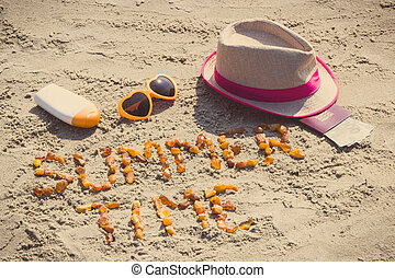 Inscription summer time, accessories for sunbathing and passport with currencies euro, travel time concept