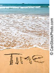 inscription time on wet golden beach sand in front of the ocean.