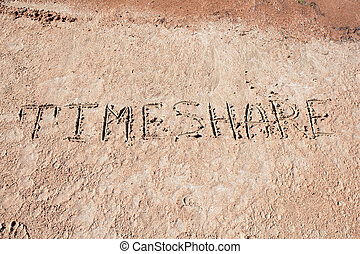 "Inscription ""Time Share"" on a sand. - Inscription ""Time ..."