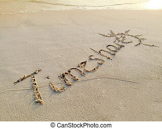 """Inscription """"Timeshare"""" in the sand on a tropical island,..."""