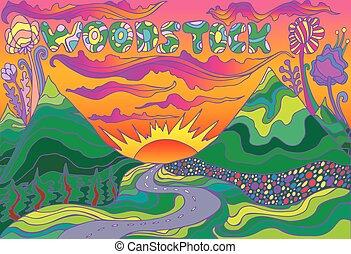 inscription, vecteur, coloré, soleil, main, paysage, woodstock, route, aller, dessiné, sunset., montagnes, illustrations.