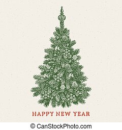 inscription, vendange, salutation, arbre., année, nouveau, noël carte