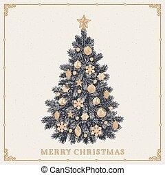 inscription, vendange, salutation, arbre., joyeux noël, carte