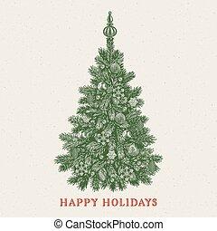 inscription, vendange, salutation, fetes, arbre., noël carte, heureux