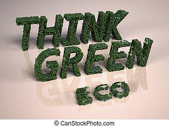 inscription, vert, tridimensionnel, penser
