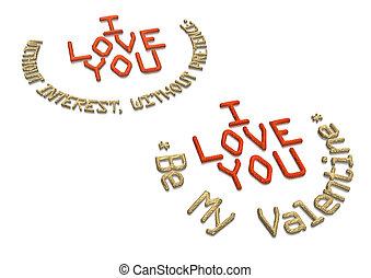 inscription, vous, amour, tridimensionnel