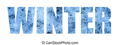 inscription winter on the background of beautiful blue snowflakes