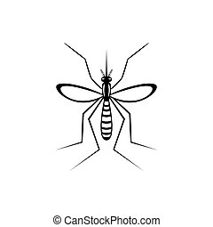 Insect a realistic mosquito. Mosquito silhouette isolated on white background. Vector illustration