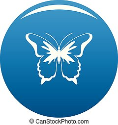 Insect butterfly icon blue vector