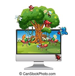 Insect cartoon fairy on computer background