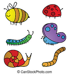 Insect cartoons - Six colorful, vector garden friend cartoon...