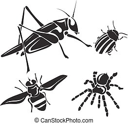 Insect collection - vector silhouette