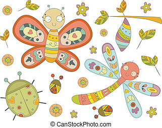 Insect Doodles - Illustration of Insect Doodles Design...