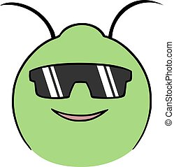 insect face with sunglasses draw