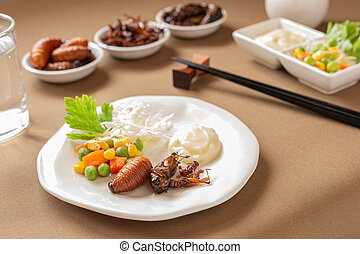 Insect food for fried Worm, Cricket and Grasshopper with ...