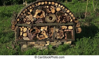 Insect hotel or house in a city environment - Bee and insect...