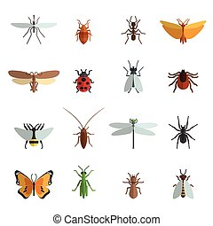Insect Icon Flat - Insect icon flat set with mosquito...