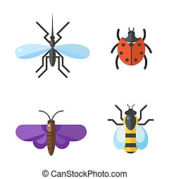 Insect icon flat set isolated on white background
