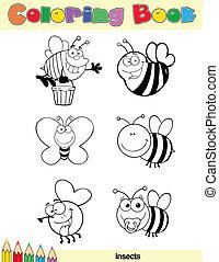 insect, kleuren, karakter, boek, pagina