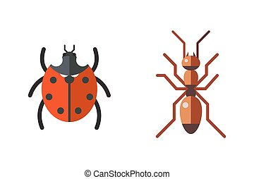 Insect ladybug and ant icon flat set isolated on white...