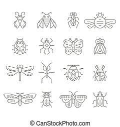 Insect Line Icons - Collection of insects made in thin line...
