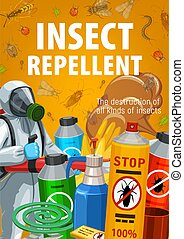 Insect repellents for home disinfection and pest control banner. Worker in chemical protection suit and gas mask holding fumigation machine, insecticide spray and mosquito coil repellent vector