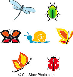 insect, set, iconen