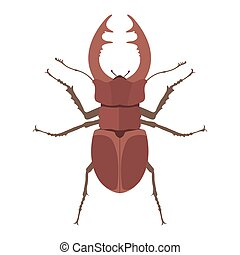 Insect stag beetle icon flat isolated vector illustration.