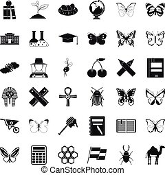 Insect wing icons set, simple style