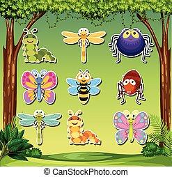 insecte, ensemble, autocollant