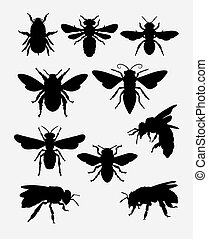 insecte, silhouette, animal, abeille