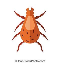 insecte, style, icône, pou, plat