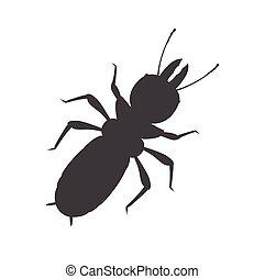 insecte, termite, silhouette, vecteur