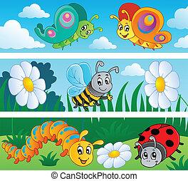 insecten, banieren, verzameling, 1
