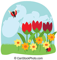 insecten, en, bloemen, 2