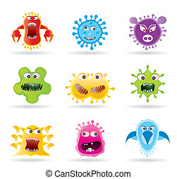 insecten, germs, virus, iconen