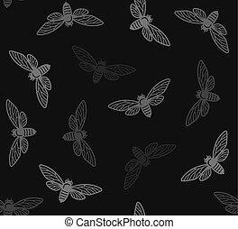 insecten, model, seamless, achtergrond., vector, cicade, black