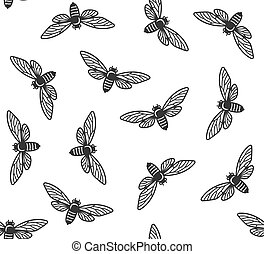 insecten, model, seamless, achtergrond., vector, cicade, witte