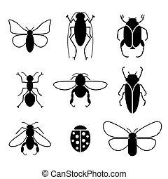 insecten, set, vector, silhouette, iconen