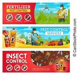 insectes, bannières, exterminators, contrôle, casse-pieds
