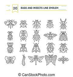 insectes, blanc, bogues, fond, isolé