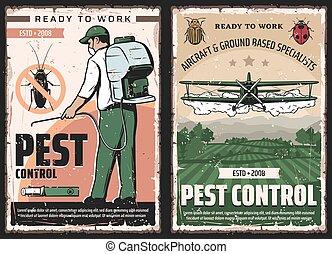 insectes, contrôle, avion, exterminateur, casse-pieds