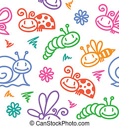 insectes, dessiné, main, modèle