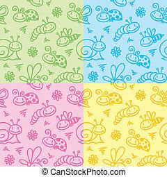 insectes, dessiné, main, motifs