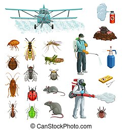 insectes, dessin animé, rongeur, ensemble, contrôle, casse-pieds