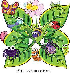 insectes, feuilles