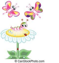 insectes, fleur